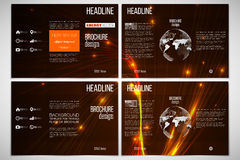 Set of tri-fold brochure design template on both sides with world globe element. Abstract lines background, dynamic Royalty Free Stock Photography