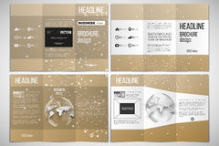 Set of tri-fold brochure design template on both sides with world globe element. Abstract polygonal low poly backdrop Royalty Free Stock Photo