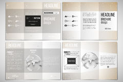Set of tri-fold brochure design template on both sides with world globe element. Abstract polygonal low poly backdrop Stock Images