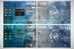 Set of tri-fold brochure design template on both sides with world globe element. Royalty Free Stock Photo