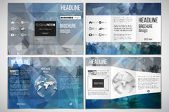 Set of tri-fold brochure design template on both sides with world globe element. Stock Images