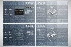 Set of tri-fold brochure design template on both sides with world globe element.  Royalty Free Stock Photography