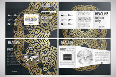 Set of tri-fold brochure design template on both sides with world globe element.  Royalty Free Stock Image