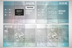 Set of tri-fold brochure design template on both Royalty Free Stock Photos