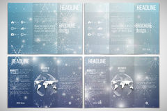 Set of tri-fold brochure design template on both Royalty Free Stock Photography
