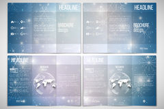 Set of tri-fold brochure design template on both Stock Photos