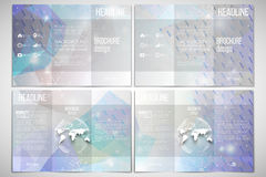 Set of tri-fold brochure design template on both. Vector set of tri-fold brochure design template on both sides with world globe element. Blue abstract winter Stock Photography