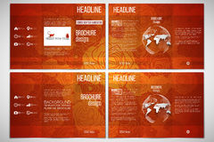 Set of tri-fold brochure template on both sides. Chinese new year background. Floral design with red monkeys, vector Stock Photography