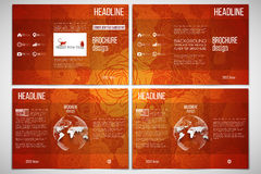 Set of tri-fold brochure template on both sides Royalty Free Stock Photography