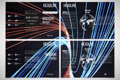 Set of tri-fold brochure templates on both sides with world globe element. Abstract lines background, motion design Stock Photography