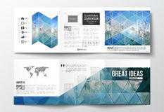 Set of tri-fold brochures, square design templates. Abstract blue polygonal background, colorful backdrop, modern. Set of tri-fold brochures, square design Royalty Free Stock Photo