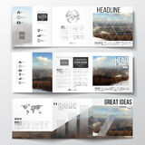 Set of tri-fold brochures, square design templates. Abstract colorful polygonal backdrop, blurred background, mountain Stock Photography