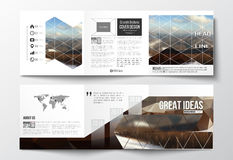 Set of tri-fold brochures, square design templates. Abstract colorful polygonal backdrop, blurred background, mountain Stock Images
