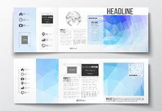 Set of tri-fold brochures, square design templates. Abstract colorful polygonal background, modern stylish triangle Royalty Free Stock Photo