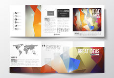 Set of tri-fold brochures, square design templates. Abstract colorful polygonal background, modern stylish triangle Stock Photography