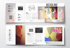 Set of tri-fold brochures, square design templates. Abstract colorful polygonal background, modern stylish triangle Stock Image