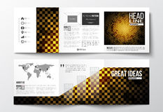 Set of tri-fold brochures, square design templates. Abstract polygonal background, modern stylish golden vector texture. Royalty Free Stock Photos