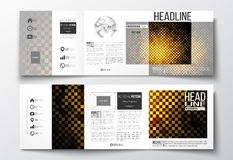 Set of tri-fold brochures, square design templates. Abstract polygonal background, modern stylish golden vector texture Royalty Free Stock Image