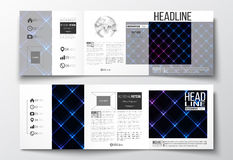 Set of tri-fold brochures, square design templates. Abstract polygonal background, modern stylish sguare vector texture. Stock Images