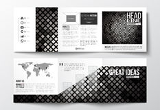 Set of tri-fold brochures, square design templates. Abstract polygonal background, modern stylish silver vector texture Royalty Free Illustration