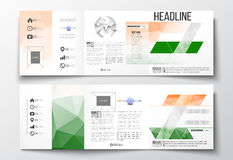 Set of tri-fold brochures, square design templates. Background for Happy Indian Independence Day celebration with Ashoka Royalty Free Stock Images