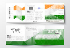 Set of tri-fold brochures, square design templates. Background for Happy Indian Independence Day celebration with Ashoka Royalty Free Stock Photos