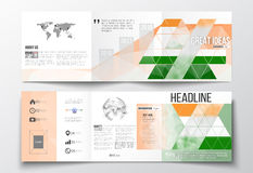 Set of tri-fold brochures, square design templates. Background for Happy Indian Independence Day celebration with Ashoka Stock Image