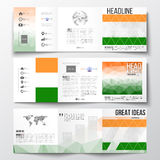 Set of tri-fold brochures, square design templates. Background for Happy Indian Independence Day celebration with Ashoka Stock Photo