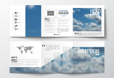 Set of tri-fold brochures, square design templates. Beautiful blue sky, abstract background with white clouds, leaflet. Set of tri-fold brochures, square design stock illustration