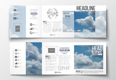 Set of tri-fold brochures, square design templates. Beautiful blue sky, abstract background with white clouds, leaflet. Set of tri-fold brochures, square design vector illustration