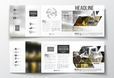 Set of tri-fold brochures, square design templates. Colorful polygonal background, blurred image, night city landscape Royalty Free Stock Photography