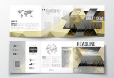 Set of tri-fold brochures, square design templates . Colorful polygonal background with blurred image, seaport landscape. Vector set of tri-fold brochures Royalty Free Stock Photo