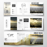 Set of tri-fold brochures, square design templates. Colorful polygonal background with blurred image, seaport landscape. Vector set of tri-fold brochures, square Royalty Free Stock Photography