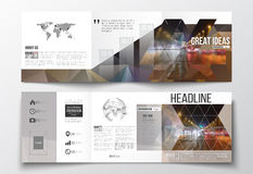 Set of tri-fold brochures, square design templates. Dark polygonal background, blurred image, night city landscape, car Royalty Free Stock Image