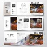 Set of tri-fold brochures, square design templates. Dark polygonal background, blurred image, night city landscape, car Stock Images
