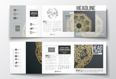 Set of tri-fold brochures, square design templates Stock Photos