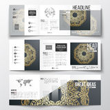 Set of tri-fold brochures, square design templates. Royalty Free Stock Photography