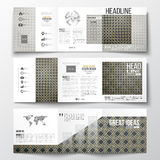 Set of tri-fold brochures, square design templates. Islamic gold pattern with overlapping geometric  shapes forming Stock Image