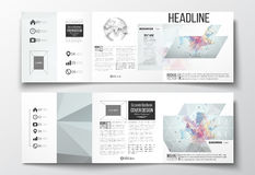 Set of tri-fold brochures, square design templates. Molecular construction with connected lines and dots, scientific. Vector set of tri-fold brochures, square Royalty Free Stock Images