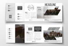 Set of tri-fold brochures, square design templates. Polygonal background, blurred image, urban landscape, Paris Stock Image