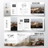 Set of tri-fold brochures, square design templates. Polygonal background, blurred image, urban landscape, Prague Royalty Free Stock Photos