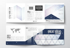 Set of tri-fold brochures, square design templates. Polygonal low poly backdrop with connecting dots and lines. Vector set of tri-fold brochures, square design Stock Photography