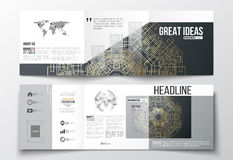 Set of tri-fold brochures, square design templates. Round golden technology pattern on dark background, mandala template Stock Photo
