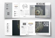 Set of tri-fold brochures, square design templates. Round golden technology pattern Stock Image