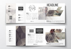 Set of tri-fold brochures, square design templates.. Vector set of tri-fold brochures, square design templates with element of world globe. Polygonal background Stock Image