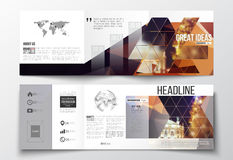 Set of tri-fold brochures, square design templates.. Vector set of tri-fold brochures, square design templates with element of world map and globe. Colorful Royalty Free Stock Photos