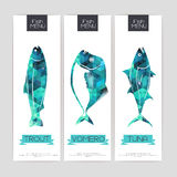 Set of triangle  banners with fish Stock Photography