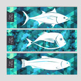 Set of triangle banners with fish Royalty Free Stock Photos