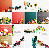 Set of triangle geometric abstract backgrounds Stock Photos