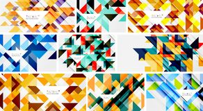 Set of triangle geometric abstract backgrounds Stock Photo